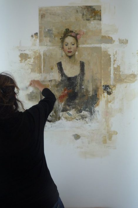 Installation murale - 300 x 145 x 2 cm - huile et cire sur toile & bois - octobre 2013