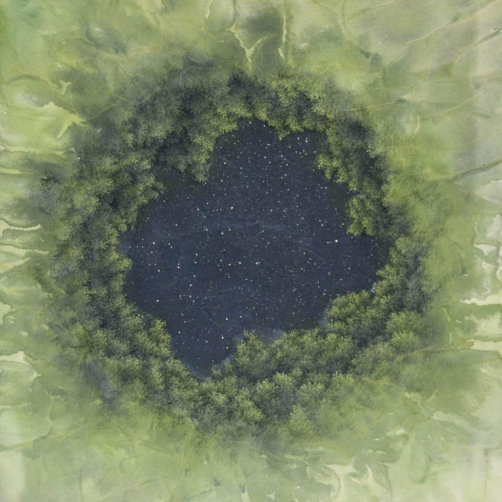 A brief history of time - 50 x 50 cm - encre et acrylique / papier Xuan marouflé sur toile