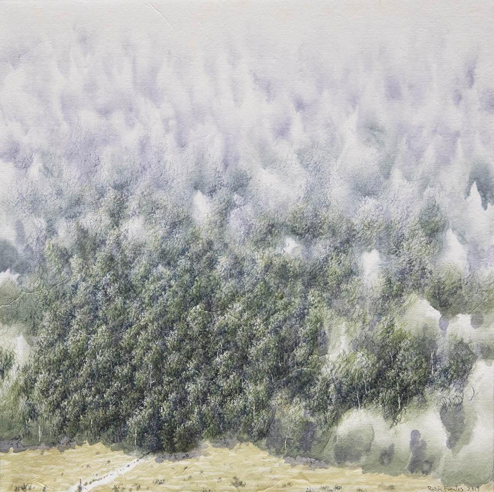 Début du chemin - Encre et acrylique / papier Xuan marouflé sur toile - 40 X 40 cm - 2019