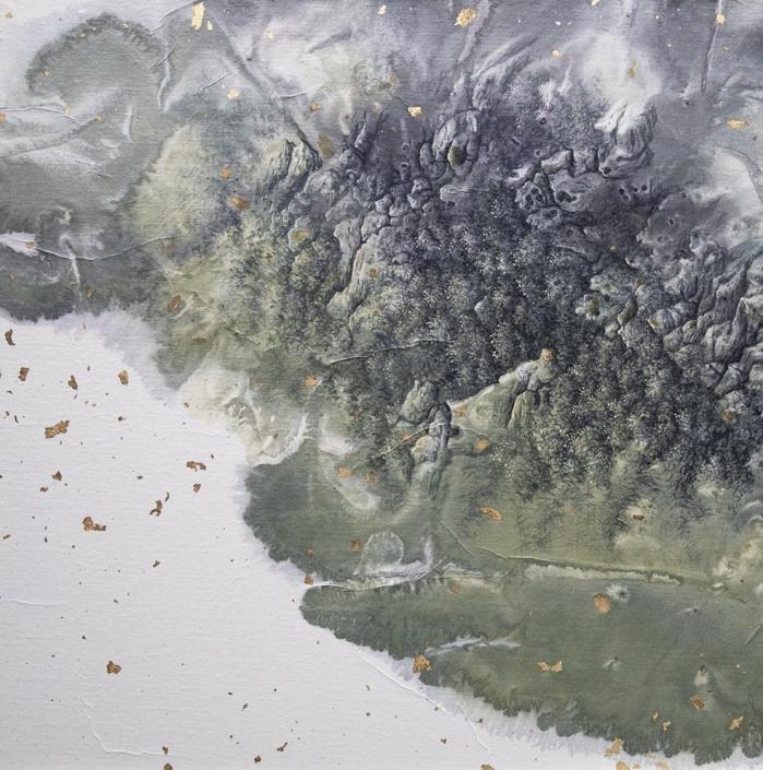 Paysage abrupt né d'une tache d'encre - Encre et acrylique / papier Xuan marouflé sur toile - 50 x 50 cm - 2019