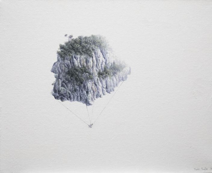 Montgolfière - Encre et acrylique / papier Xuan marouflé sur toile - 40 X 50 cm - 2019
