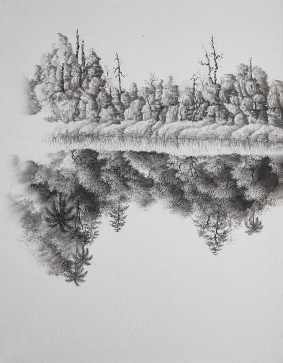 Gémissements d'une forêt - Encre / papier Xuan marouflé sur toile - 50 X 40 cm - 2019