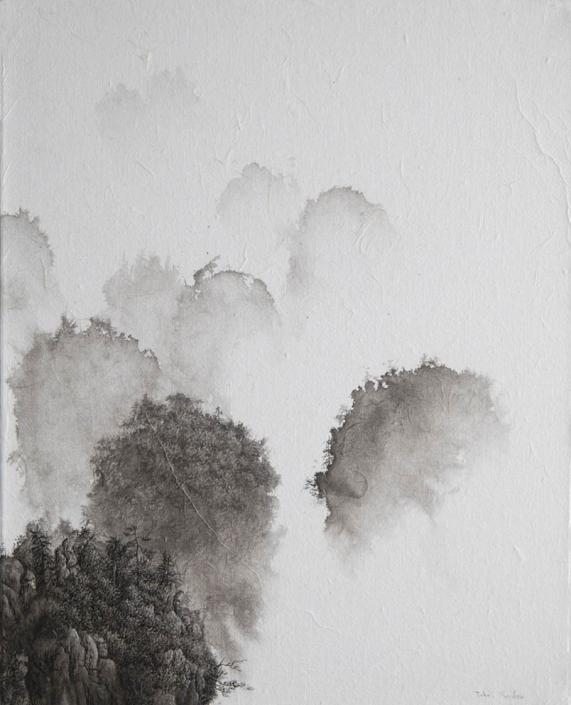 Les philosophes - Encre / papier Xuan marouflé sur toile - 50 X 40 cm - 2019