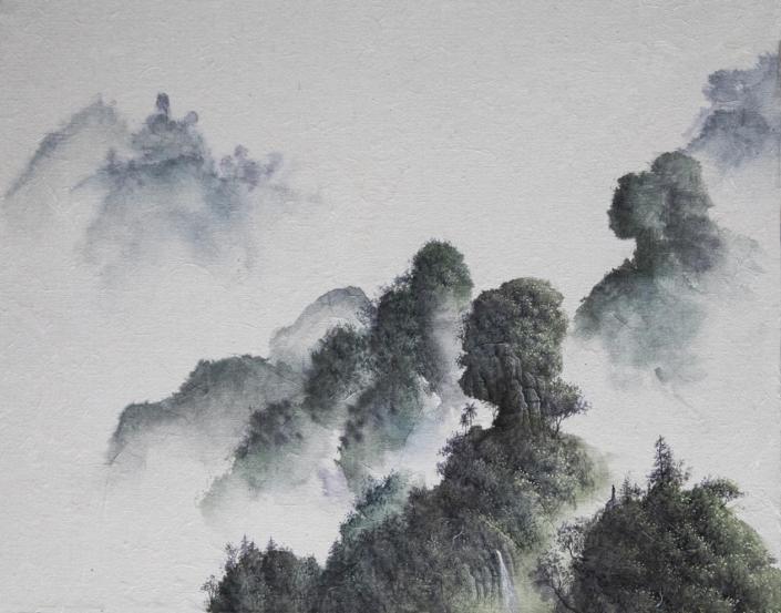 Gardiens de la cordillère - Encre / papier Xuan marouflé sur toile - 40 X 50 cm - 2019