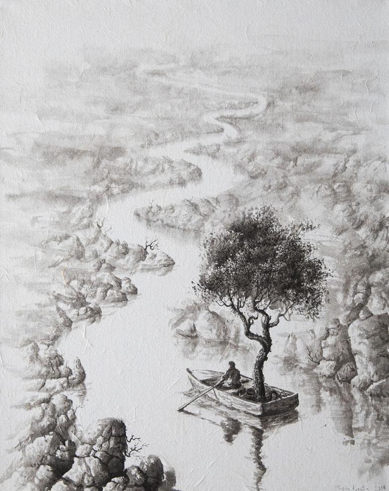 Le Jardinier - Encre / papier Xuan marouflé sur toile - 50 X 40 cm - 2019