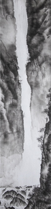 Offrande (hommage aux Premières nations d'Amérique, à Edward Curtis et à Yokoyama Taikan) - Encre / papier Xuan marouflé sur toile -100 X 25 cm - 2020