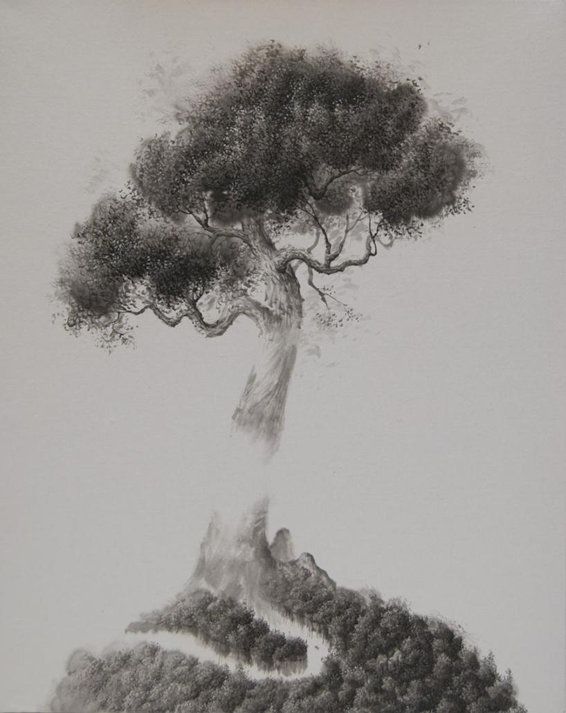 Axis mundi II - 50 x 40 cm - encre / papier Xuan marouflé sur toile