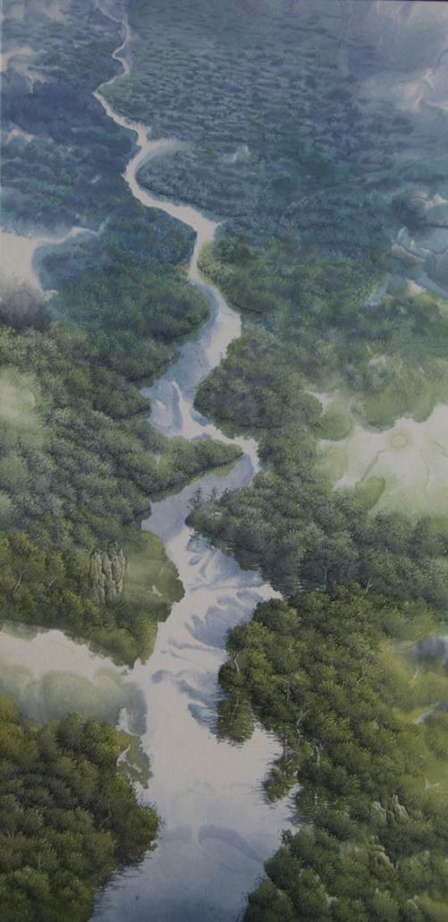 El viaje del rio - 80 x 40 cm - / papier Xuan marouflé sur toile