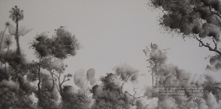 Endosymbiose (hommage à Lynn Margulis) - 40 x 80 cm - encre / papier Xuan marouflé sur toile, 2020