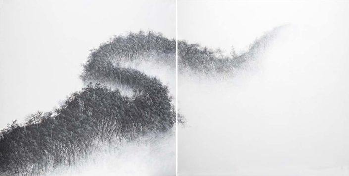 Entrevoir le grand dragon - (diptyque) 150 X 150 cm - acrylique sur toile - 2018