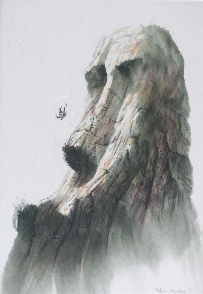 La mort de l agent de change - 27 x 19 cm - Encre et acrylique sur papier-toile
