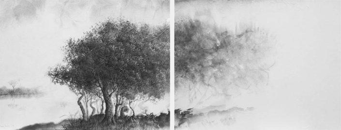 Le seuil sans porte - 40 x 50 cm diptyque - Encre sur papier sur toile