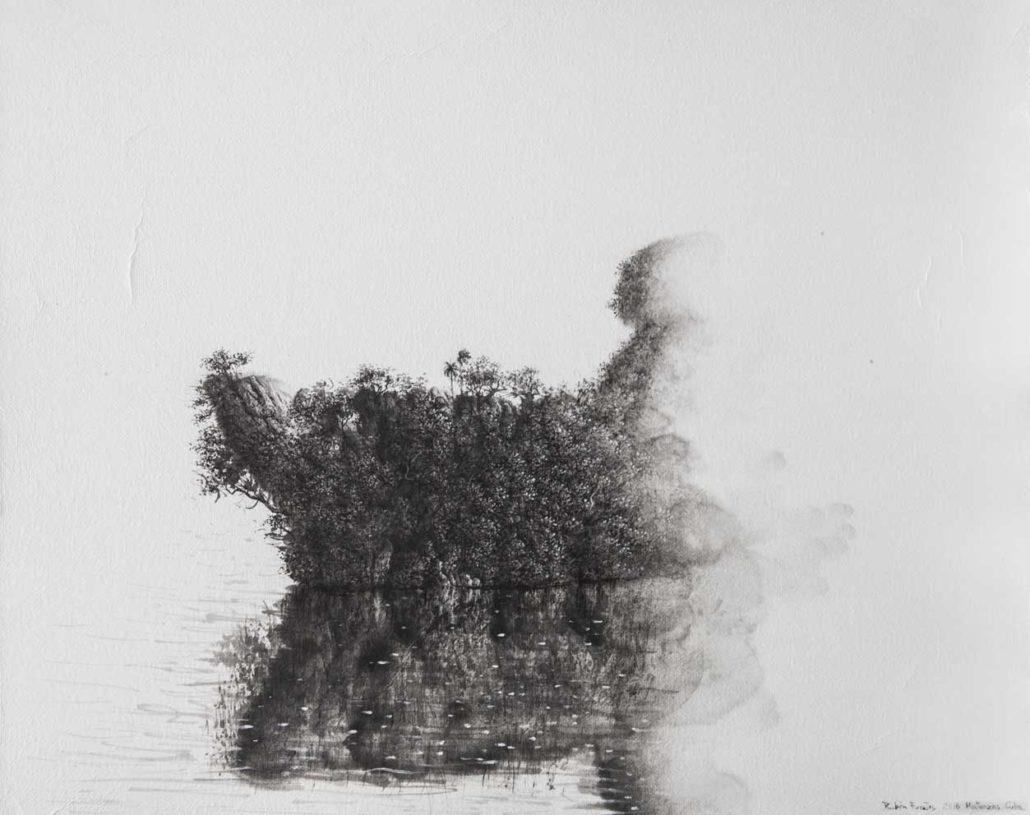 Le voyageur immobile - hommage a Jose Lezama Lima - 40 X 50 cm - encre et acrylique sur papier chinois maroufle sur toile - 2018