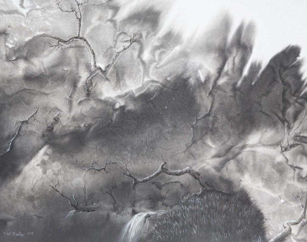 Paysage abrupt ne d une tache d encre - 40 X 50 cm - encre et acrylique sur papier chinois sur toile - 2018