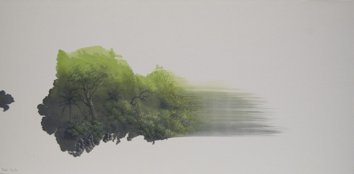 Paysage né de l'unique trait de pinceau - 40 x 80 cm - / papier Xuan marouflé sur toile, 2020