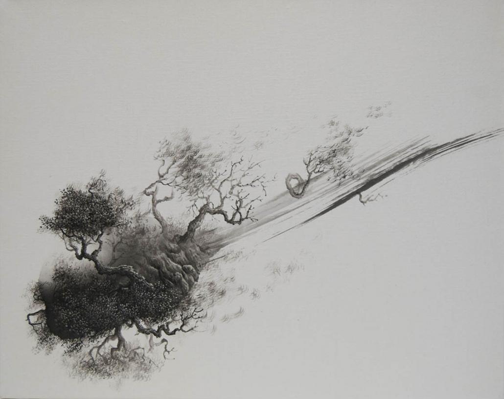 Paysage né de l'unique trait du pinceau II - 40 x 50 cm / papier Xuan marouflé sur toile, 2020