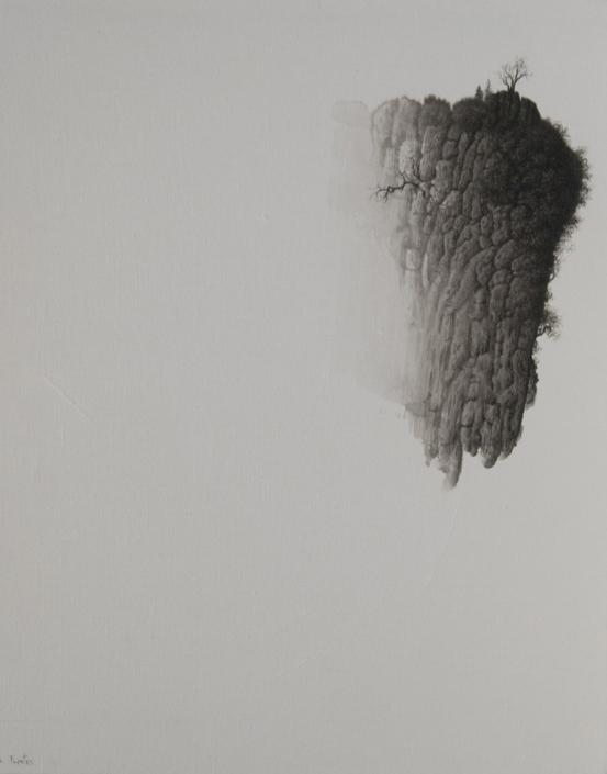 Paysage né de l'unique trait du pinceau III - 50 x 40 cm - Paysage né de l'unique trait du pinceau II - 40 x 50 cm / papier Xuan marouflé sur toile, 2020