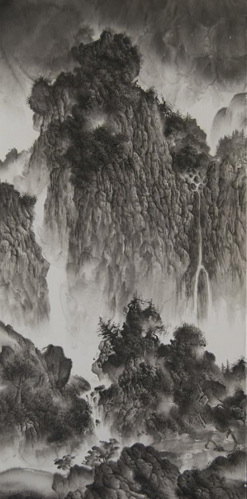 Promenade dans un paysage de Fan Kuan 范寬 - 40 x 80 cm - Paysage né de l'unique trait du pinceau III - 50 x 40 cm - Paysage né de l'unique trait du pinceau II - 40 x 50 cm / papier Xuan marouflé sur toile, 2020