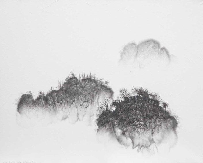 Trois montagnes - 40 X 50 cm - encre et acrylique sur papier chinois sur toile - 2018
