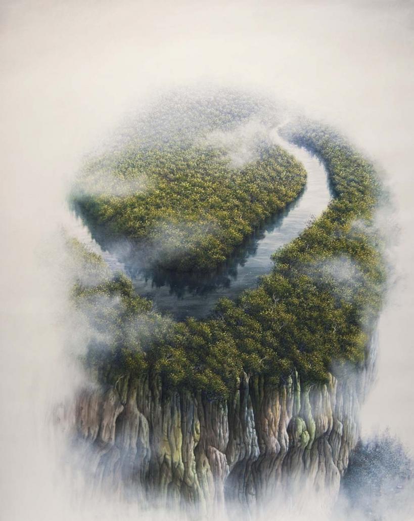 Une pensée pour l'amazonie - 114 x 146 cm - Acrylique et huile / toile