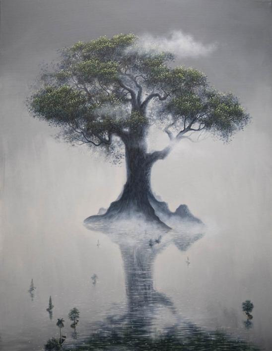 Axis mundi - Huile et acrylique sur toile - 146 X 114 cm - 2019
