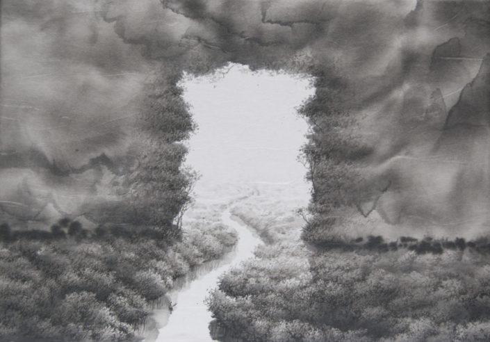 ce que j ai vu dans ma chambre - 27 x 19 cm - Encre sur papier - Toile