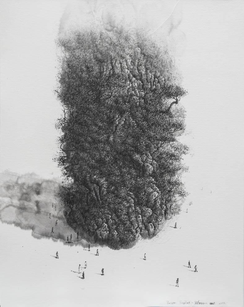 colonne infinie - 40 x 50 cm - Encre sur papier sur toile