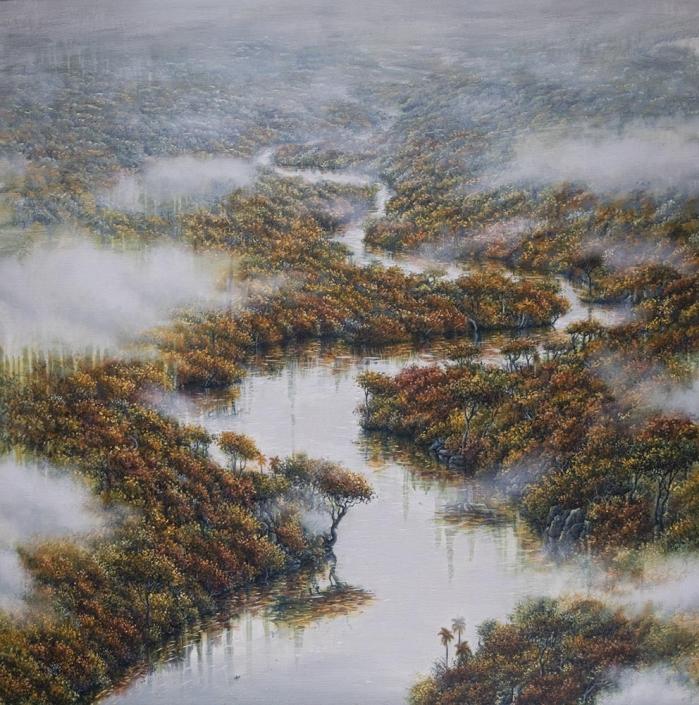 Le voyage éternel plonge dans l'automne - Huile et acrylique sur toile - 100 x 100 cm - 2019