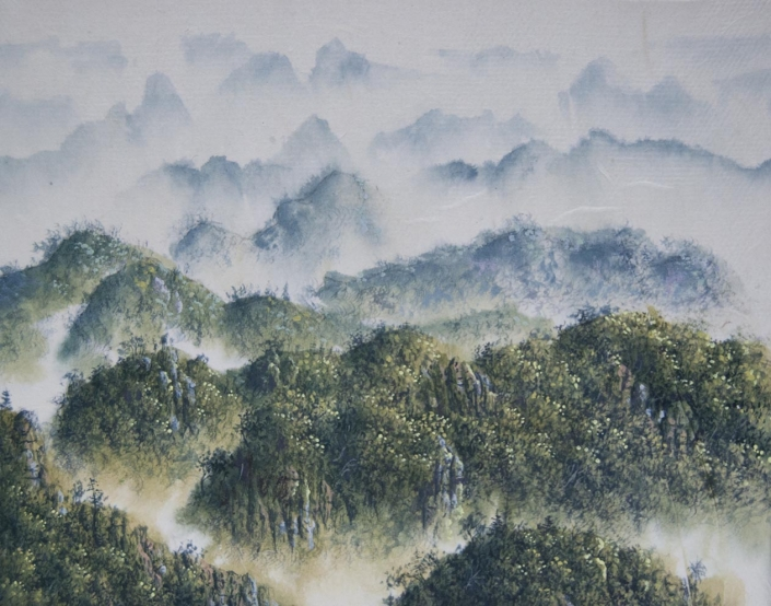 Rivières de la pensée I (hommage au neuroscientifique Santiago Ramón y Cajal) Encre et acrylique / papier Xuan marouflé sur toile - 24 X 19 cm - 2019/20