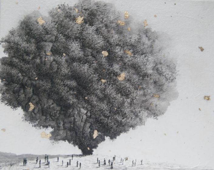 Apparition mystérieuse dans les environs d'Éguzon - Encre et acrylique / papier Xuan marouflé sur toile - 24 X 19 cm - 2019/20