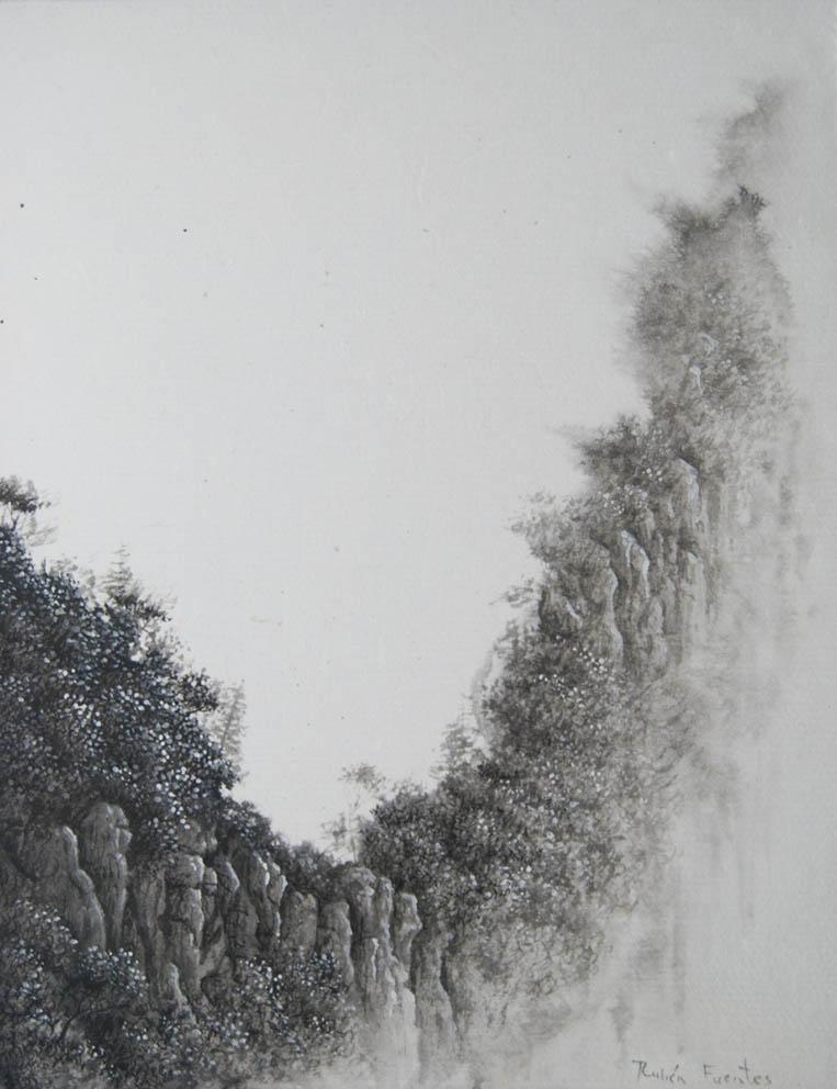 Début du chemin - Encre et acrylique / papier Xuan marouflé sur toile - 24 X 19 cm - 2019/20