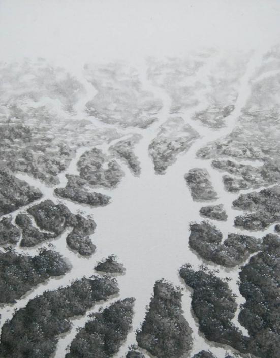 Rivières de la pensée II (hommage au neuroscientifique Santiago Ramón y Cajal) - Encre et acrylique / papier Xuan marouflé sur toile - 24 X 19 cm - 2019/20
