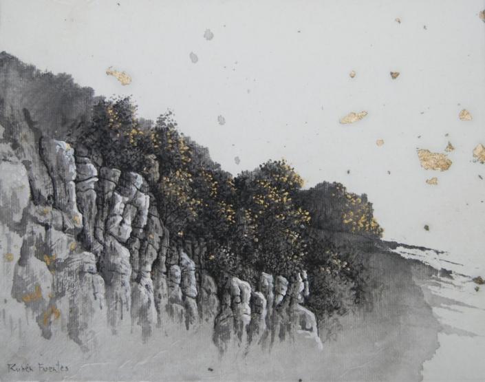 Rochers de la Fileuse - Encre et acrylique / papier Xuan marouflé sur toile - 24 X 19 cm - 2019/20