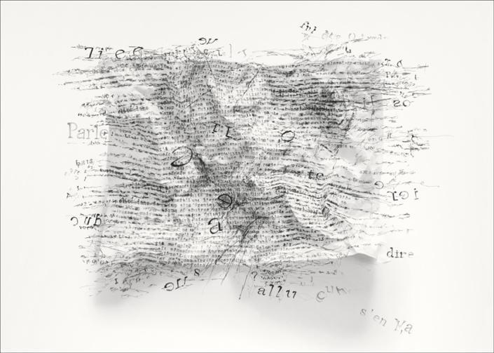 Des mots déplacé(s) - N°1 - Pigment liner sur impression jet d encre pigmentaire - 70 x 50 cm - Piece unique - 2018