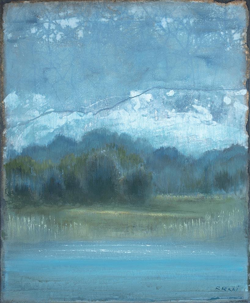Chemin - 40 x 38 cm - Acrylique sur papier marouflé sur toile - Acrylic on paper / Canvas