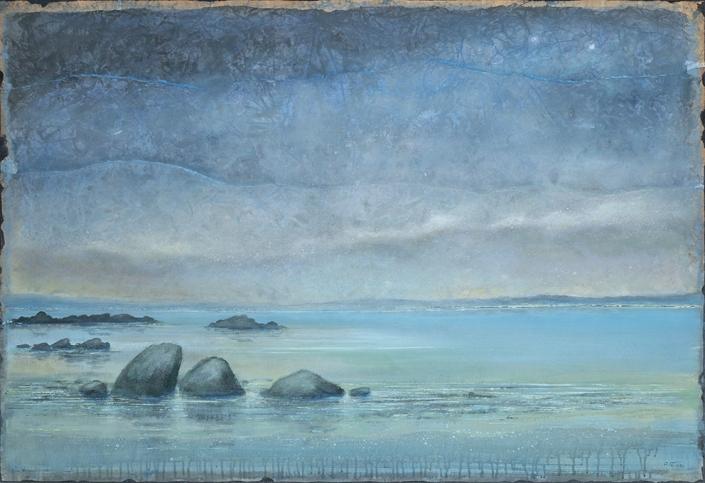 Côte rocheuse - 89 x 130 cm - Acrylique sur papier marouflé sur toile - Acrylic on paper / Canvas