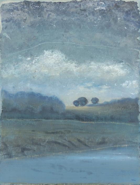 FERRI - La vallée - 116 x 89 cm - acrylique sur papier sur toile