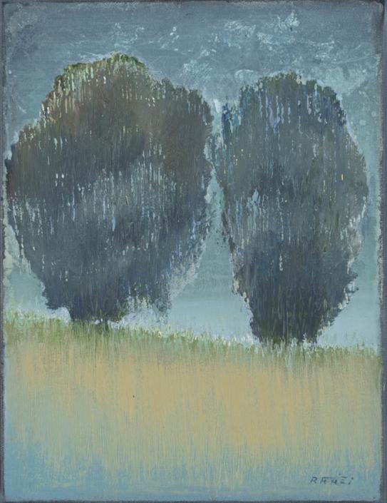FERRI - Les deux géants - 35 x 27 cm - acrylique sur papier sur toile