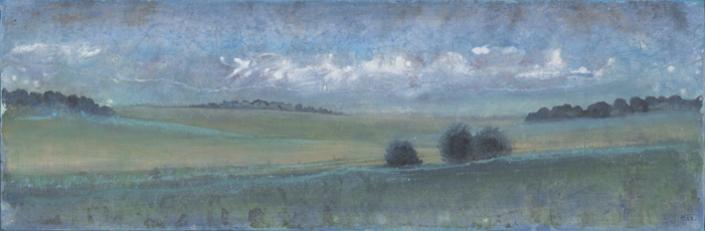 FERRI - Paysage d Auvers - 40 x 120 cm - acrylique sur papier sur toile
