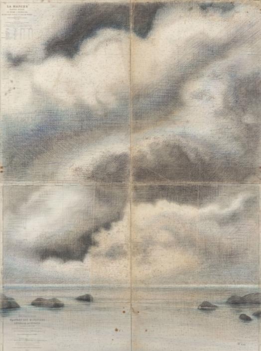 FERRI - Récifs - 130 x 97 cm - Dessin sur carte marine sur toile