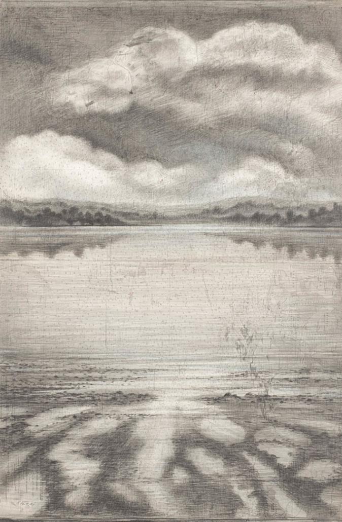 FERRI - Rivage - 100 x 65 cm - Dessin sur carte marine sur toile