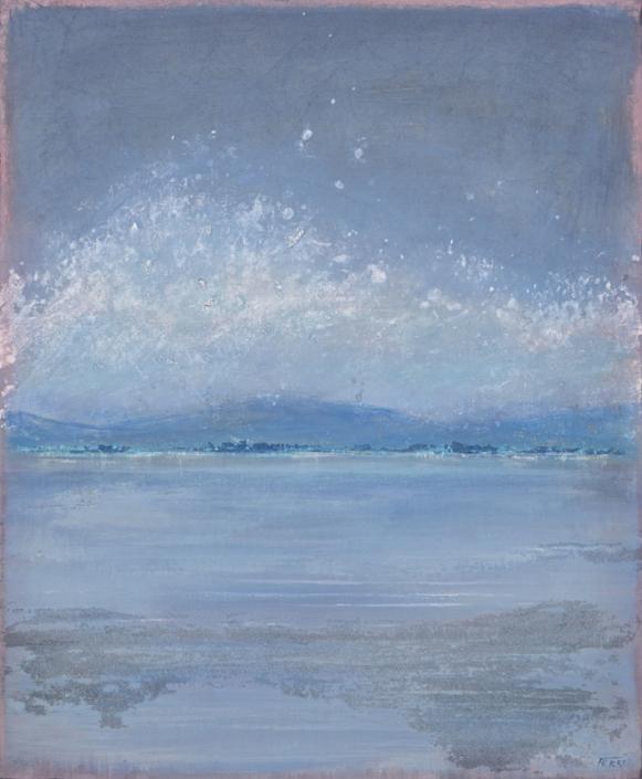 FERRI - Rivage bleu - 65 x 54 cm - acrylique sur papier sur toile