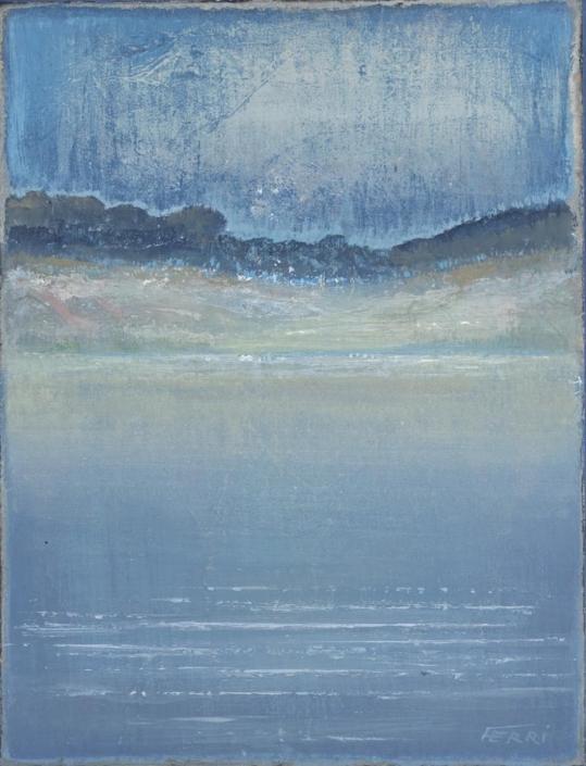 FERRI - Vue du large - 35 x 27 cm - acrylique sur papier sur toile