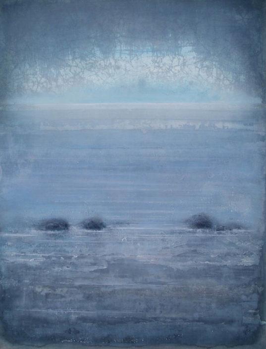Galerie Felli - R.FERRI - Vagues et rochers - 116 x 89 cm - 2017 - Acrylique sur papier marouflé sur toile