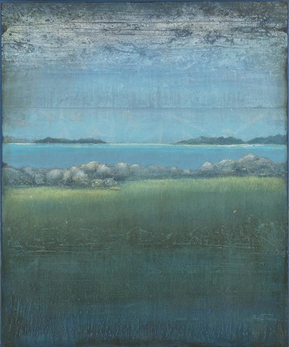 Îles lointaines - 65 x 54 cm - Acrylique sur papier marouflé sur toile - Acrylic on paper / Canvas