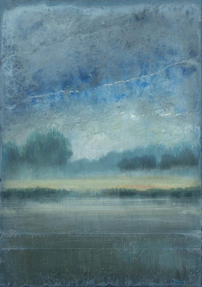 Médoc bleu - 92 x 65 cm - Acrylique sur papier marouflé sur toile - Acrylic on paper / Canvas