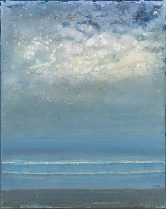 Plage le soir - 92 x 73 cm - Acrylique sur papier marouflé sur toile - Acrylic on paper / Canvas