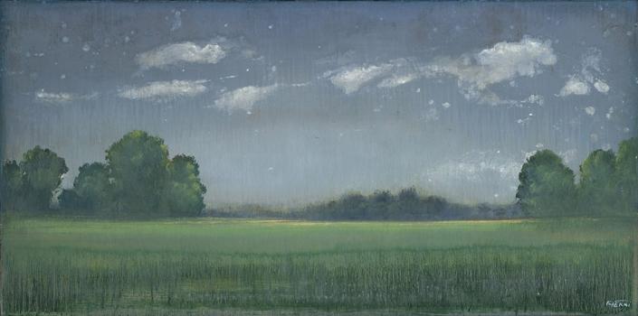 Plaine d'Auvers II - 50 x 100 cm - Acrylique sur papier marouflé sur toile - Acrylic on paper / Canvas