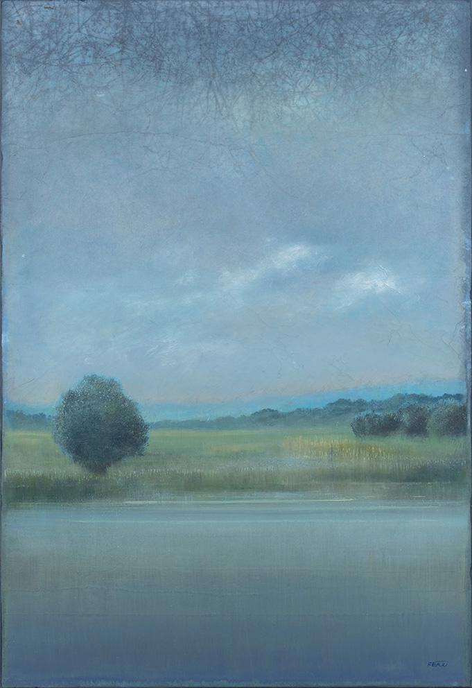 Rive du lac - 130 x 89 cm - Acrylique sur papier marouflé sur toile - Acrylic on paper / Canvas