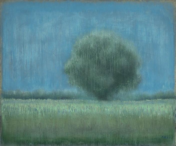 Seul sur la plaine - 54 x 65 cm - Acrylique sur papier marouflé sur toile - Acrylic on paper / Canvas